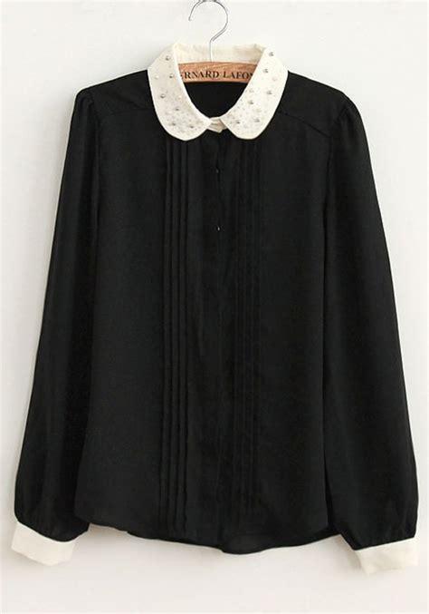 collar blouse black and white pan collar blouse black blouse