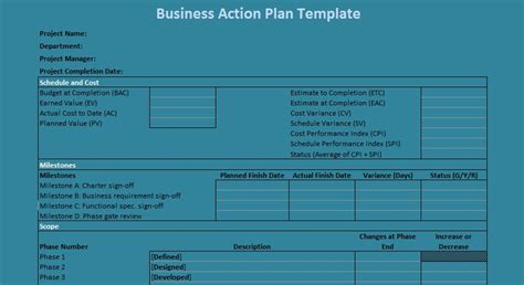 professional business action plan template excel