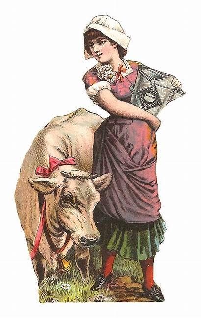 Milk Maid Cow Digital Clip Woman Antique