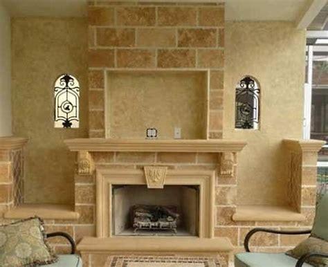 corner fireplaces  stone  recessed tv