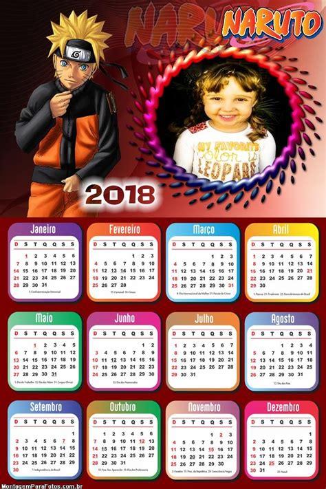 calendario naruto shippuden montagem fotos