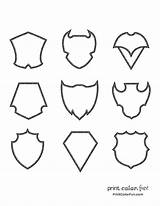 Medieval Shields Coloring Pages Printcolorfun sketch template