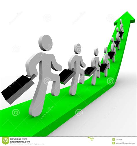 Business People Marching Up Arrow Stock Illustration