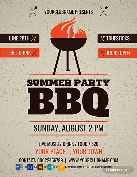 summer party bbq flyer template word psd apple