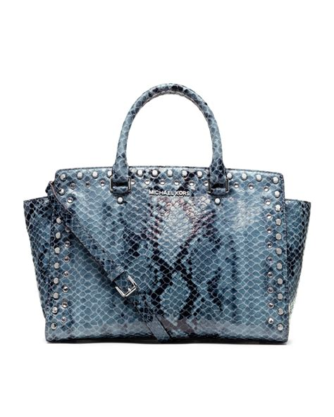 michael michael kors large selma snakeprint satchel in