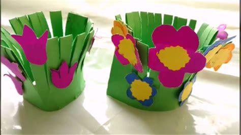 easy paper craft flower garden making  kids paper