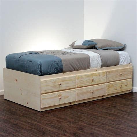 extra long twin storage bed pine wood craft storage