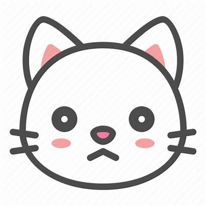 Cat Face Avatar Kitten Sad Icon Frown