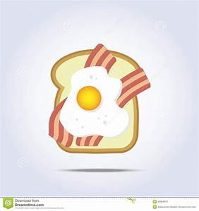 White Bread Toast Icon With Bacon And Egg Stock Vector ...