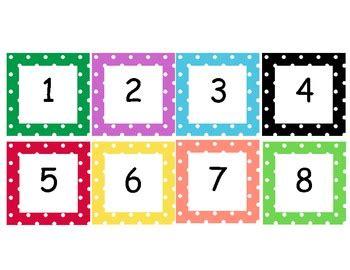 polka dot numbers cards    sara cooper teachers