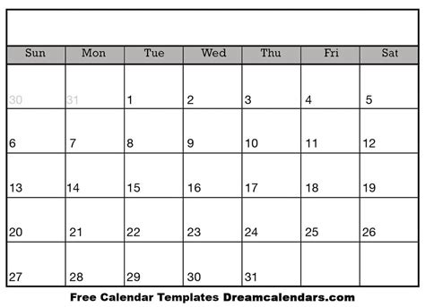 printable blank calendar  dream calendars