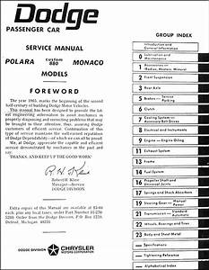 1965 Dodge Polara  Monaco   U0026 880 Repair Shop Manual Reprint