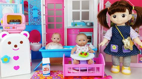 baby doll house kitchen toys refrigerator  bath play