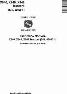 John Deere X940  X948  X949 Compact Utility Tractors  Sn