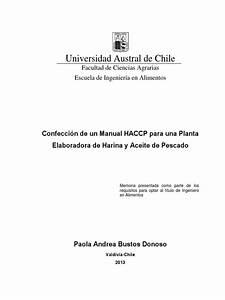Confecci U00f3n De Un Manual Haccp Aceite Y Harina De Pescado