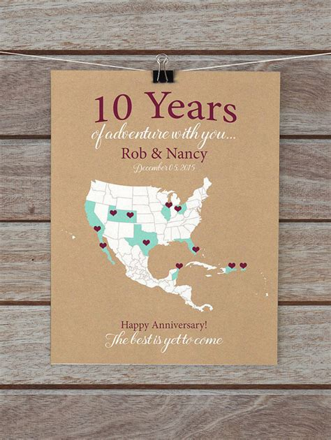 10 year anniversary gift for 10 year anniversary gifts 10th anniversary personalized map