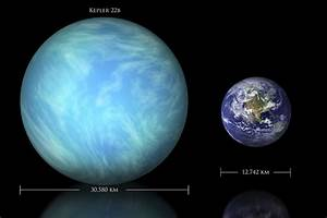 Artist's depiction of the difference in size between Earth ...