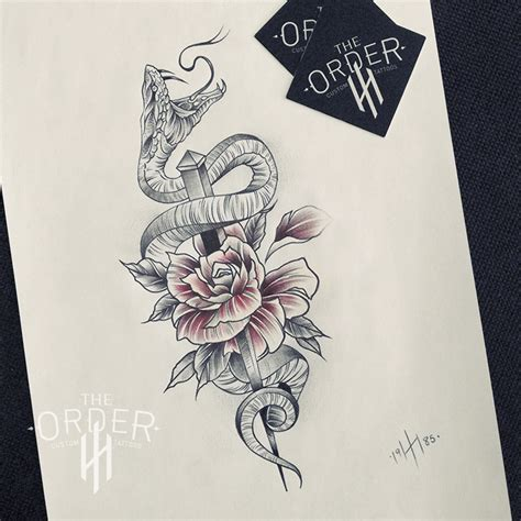 neo traditional snake  rose tattoo  order