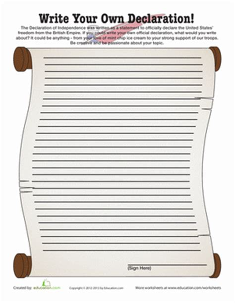 write your own declaration writing worksheets the