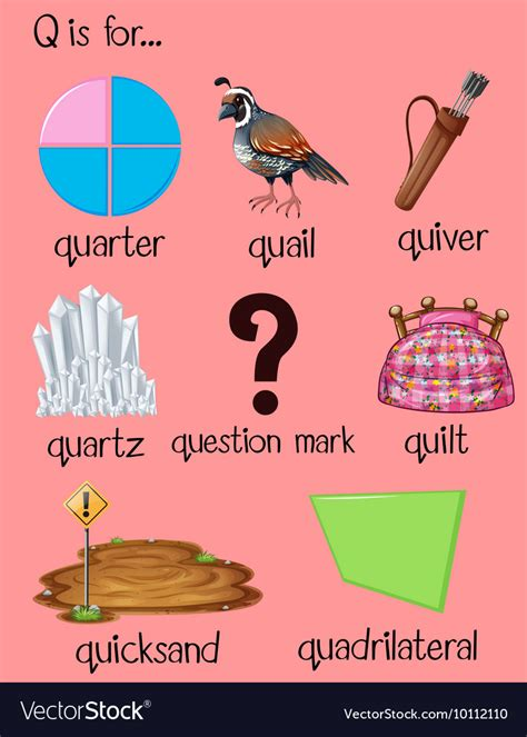 Many words begin with letter Q Royalty Free Vector Image