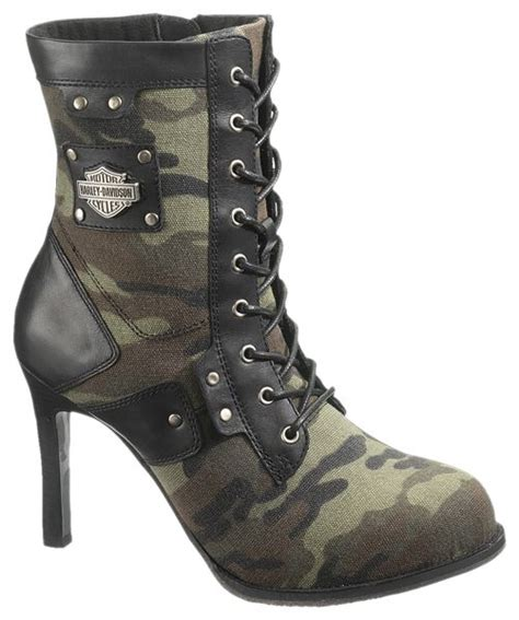 Harley Davidson Womens Vikki Leather Canvas Camo