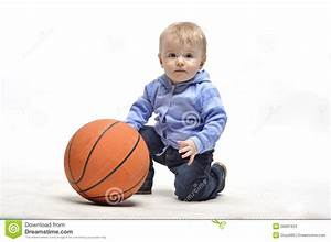 Little Boy Plaing With Basketball Ball In Studio Stock ...