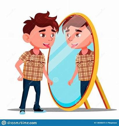 Mirror Reflection Boy Vector Illustration Shows Tongue