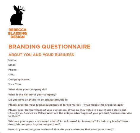 Brand Questionnaire Branding Questionnaire Sle How To Create Your Own