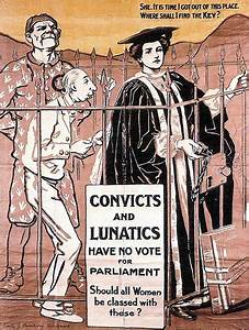"""British pro-women's suffrage poster, """"Convicts and ..."""