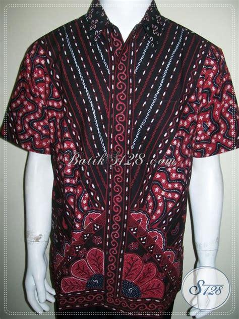 Kemeja Batik Hitam Cahyo Merah batik pria kombinasi warna merah hitam unik batik tulis