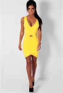 Asoleado Yellow Bodycon Wrap Mini Dress   Pink Boutique