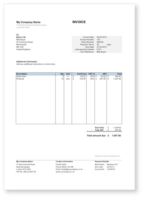 invoice template uk excel invoice