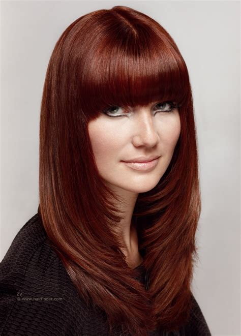 sleek long hairstyle  tapered  layered sides