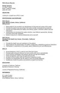 Sle Of Resume Letter For Nurses by Pacu Resume Sle Pacu Resume Sle Ashely