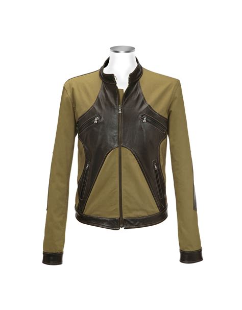 green motorcycle jacket forzieri brown olive italian leather and cotton