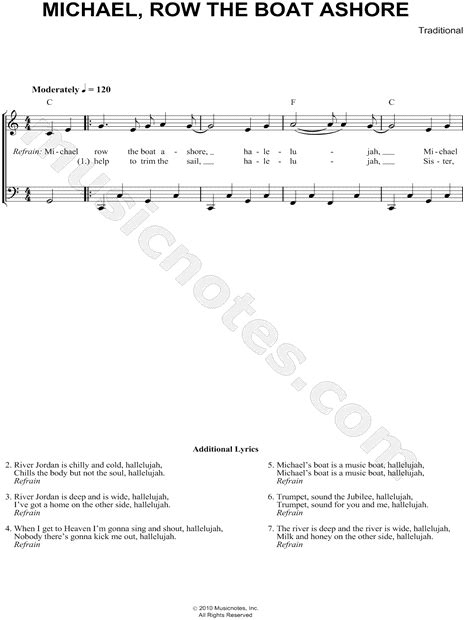 Row The Boat Ashore Piano by Traditional Quot Michael Row The Boat Ashore Quot Sheet