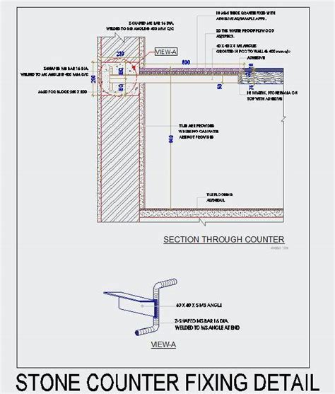 a typical stone ledge counter fixing detail plan n design