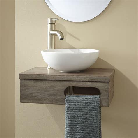wall mount bathroom sink cabinet 18 quot dell teak wall mount vessel vanity with towel bar