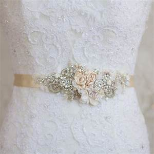 champagne belt sash floral belt sash lace belt sash With lace wedding dress with belt