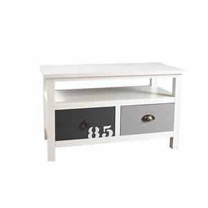 Meuble Blanc Et Gris : meuble tv 2 tiroirs blanc gris et taupe bois 80cm milo ~ Dailycaller-alerts.com Idées de Décoration