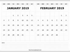 Get Free Printable Two Month Per Page Calendar 2019