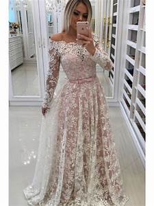 a line long sleeves lace long prom dresses formal evening With robe soiree pas chere