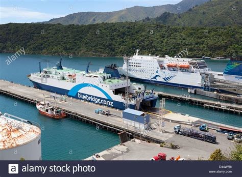 Ferry Boat New Zealand by Bluebridge And Interislander Ferry Inthe Harbour Of Picton