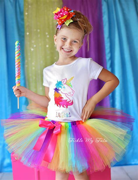 Rainbow Unicorn Birthday Tutu Outfit-Rainbow Birthday Tutu