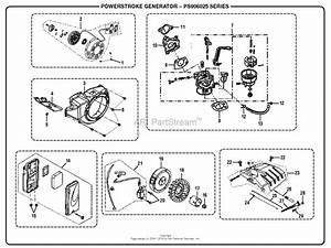 Homelite Ps906025 Powerstroke 6 000 Watt Generator Parts