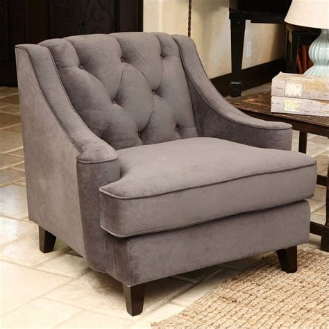 abbyson living emily velvet tufted arm chair in gray rl