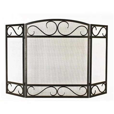Style Selections 50.2 in Black/Powder Coated Steel 3 Panel