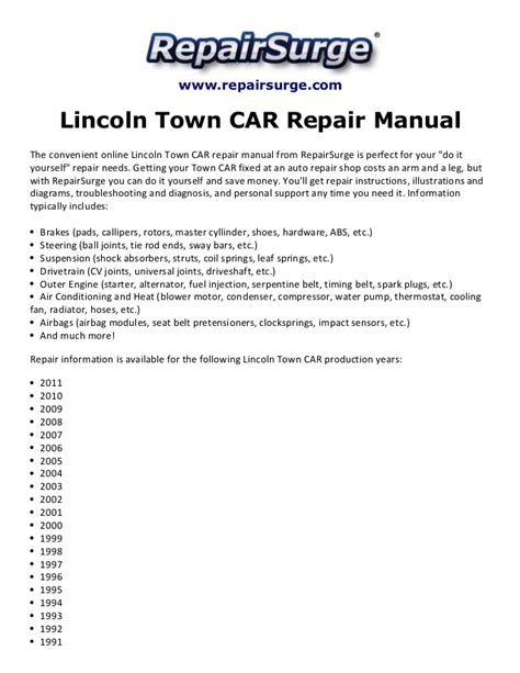 online car repair manuals free 1986 lincoln town car electronic valve timing lincoln town car repair manual 1990 2011