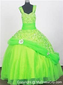 Spring Green Cheap Pageant Dresses for Juniors Embellshed