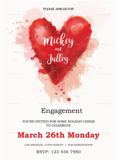 colorful engagement invitation card design template